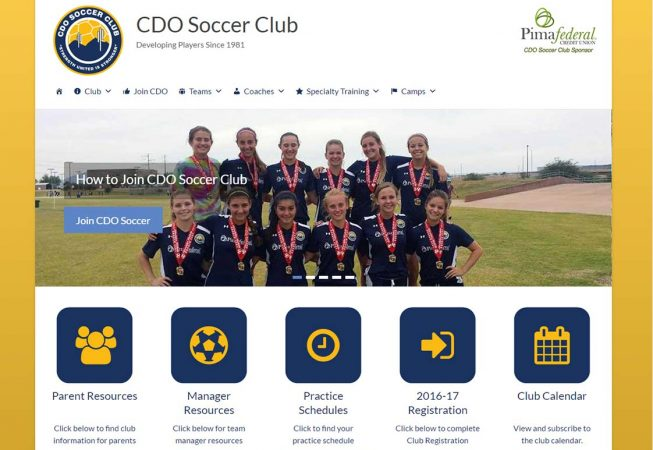 CDO Soccer Club - Customized template, online registration and account management system, dynamic content.